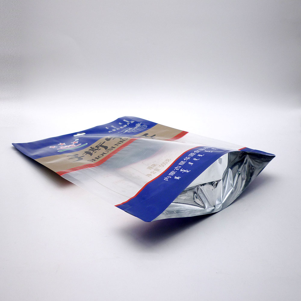 Kraft stand up pouch with window glossy stand up barrier pouches