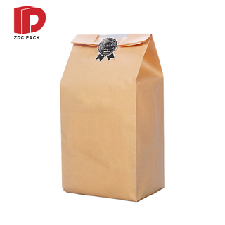 Baking Donut Toast Bread Packing Brown Paper Kraft Bag With Window