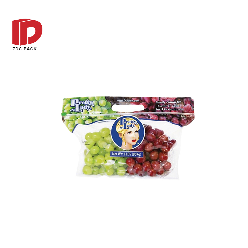 Vent plastic bag with handle and zipper Packaging Bags Plastic Clear Poly Bags Fruits and Vegetables Vent Bag