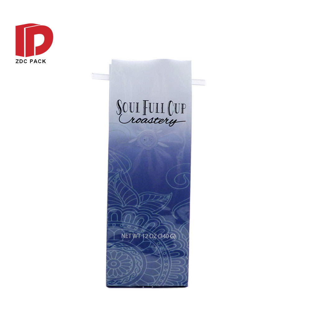 Flat bottom custom printed coffee bean packaging drip coffee bags with valve and zipper